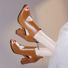 Fashion Hollow Out Peep Toe high heels ziping black heel sandals sexy Mature open toe chunky heels wedding shoes women 34-41 mature temptation mysterious sexy fashion ultra high documentary shoes black roman style hollow out super high heels