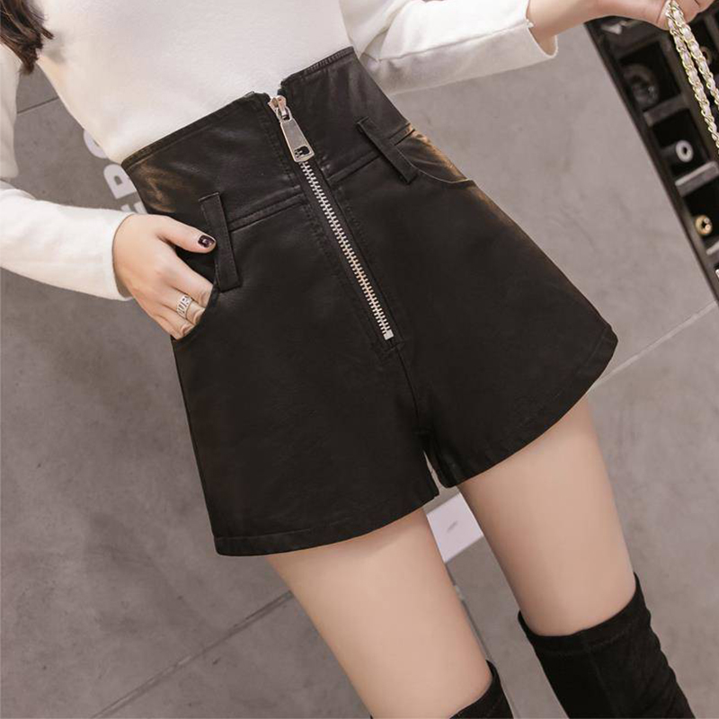 Autumn Winter High Waist PU Leather Shorts Women Solid Zippper Loose Width-leg Shorts Plus Size Female Fashion Simple Shorts New