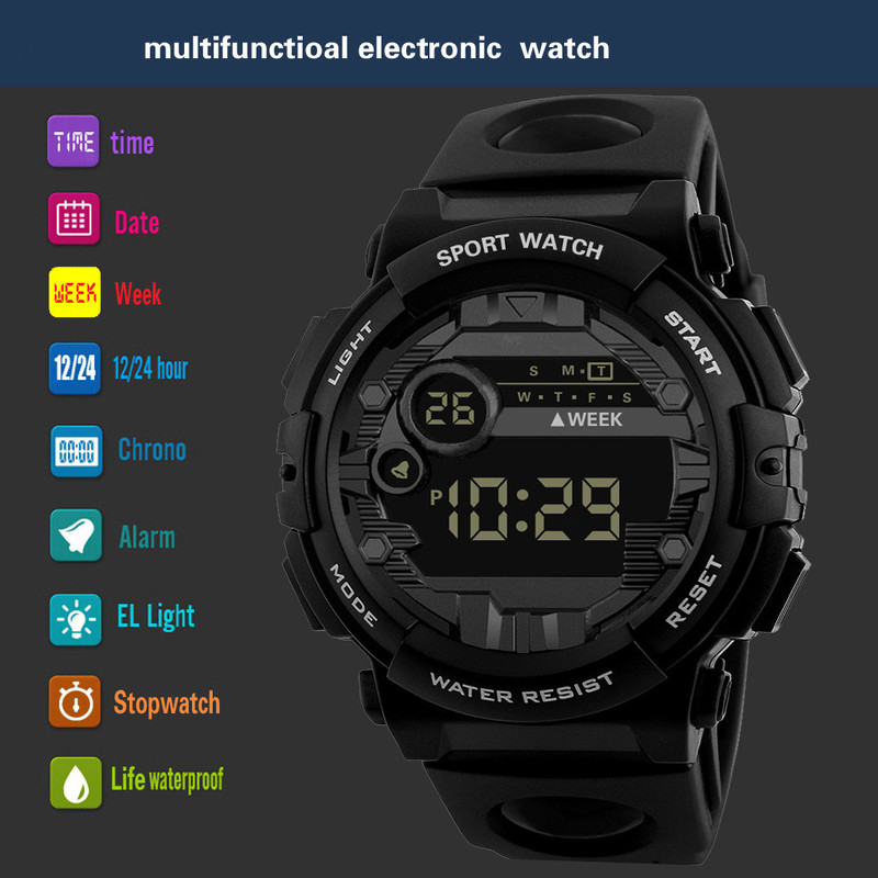 2019 Hot Luxury Mens Digital LED Watch Date Sport Men Outdoor Electronic Watch Quartz Watch Outdoor Hiking Sport Best Gift