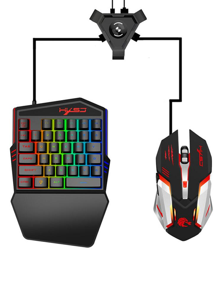 32 Keys Wired Keyboard / Optics Mouse Converter For PUGB <font><b>Gaming</b></font> Keyboard P5 AdapterLED Color Backlight for Android Mobile Game