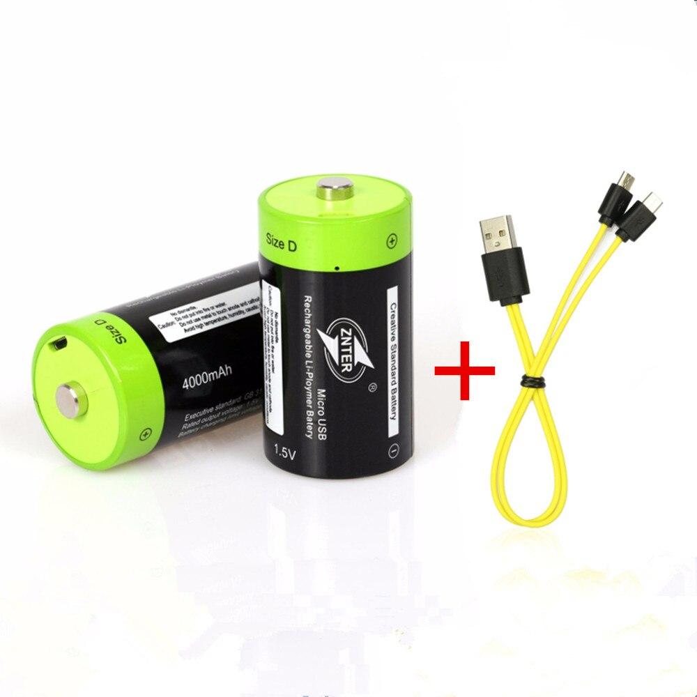 2 шт. ZNTER 1,5 в 4000 мАч аккумуляторная батарея микро-usb батарея D Lipo LR20 литий-полимерная батарея + Micro usb зарядный кабель