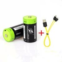 2 piezas ZNTER 1,5 V batería recargable de 4000mAh Micro USB batería de Lipo D LR20 batería de polímero de litio + Micro cable de carga USB