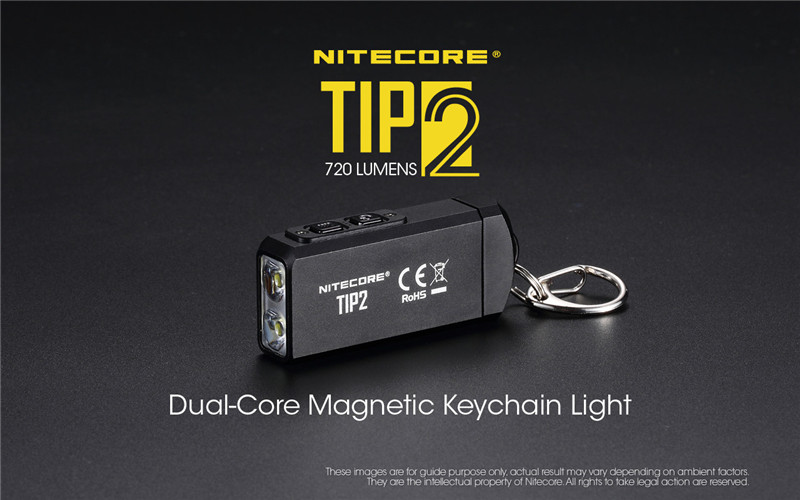 Mini Light NITECORE TIP2 CREE XP-G3 S3 720 Lumen USB Rechargeable Keychain Flashlight With Battery