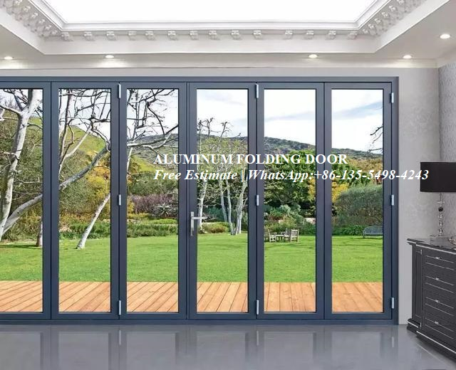 Waterproof Veranda Double Glazing Aluminum Bi Folding Door,Outdoor Dividers Soundproof Fold Door