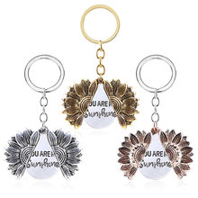 You are my sunshine Keychain Customed New Women Gold Open Locket Sunflower Keyrings accessories jewelry(China)