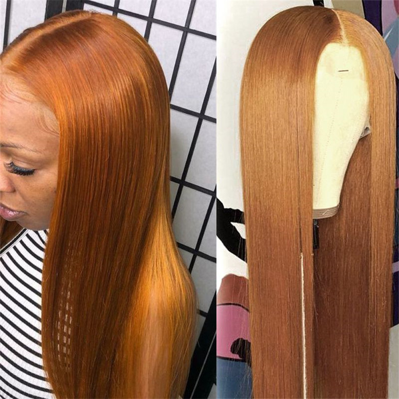 Lace Front Wigs Orange Brazilian Hair Remy Copper Brown Human Hair Wig With Baby Hair Pre Plucked Glueless Wig