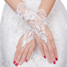 Bridal-Gloves Marriage-Accessories Beading Fingerless Free-Lace White Fashion Short