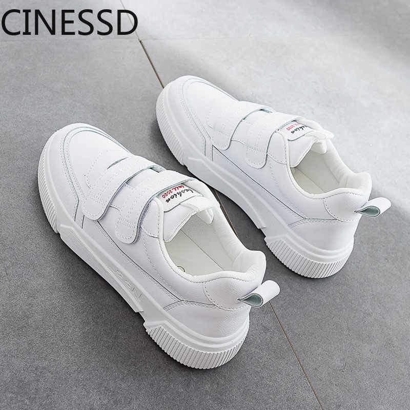 spring new velcro small white shoes