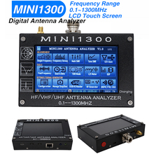 MINI1300 Analizador de Antena de pantalla táctil 0,1 1300MHZ Mini 1300 HF VHF UHF SWR Analizador de Antena 4,3 pulgadas LCD 1,5a batería interior