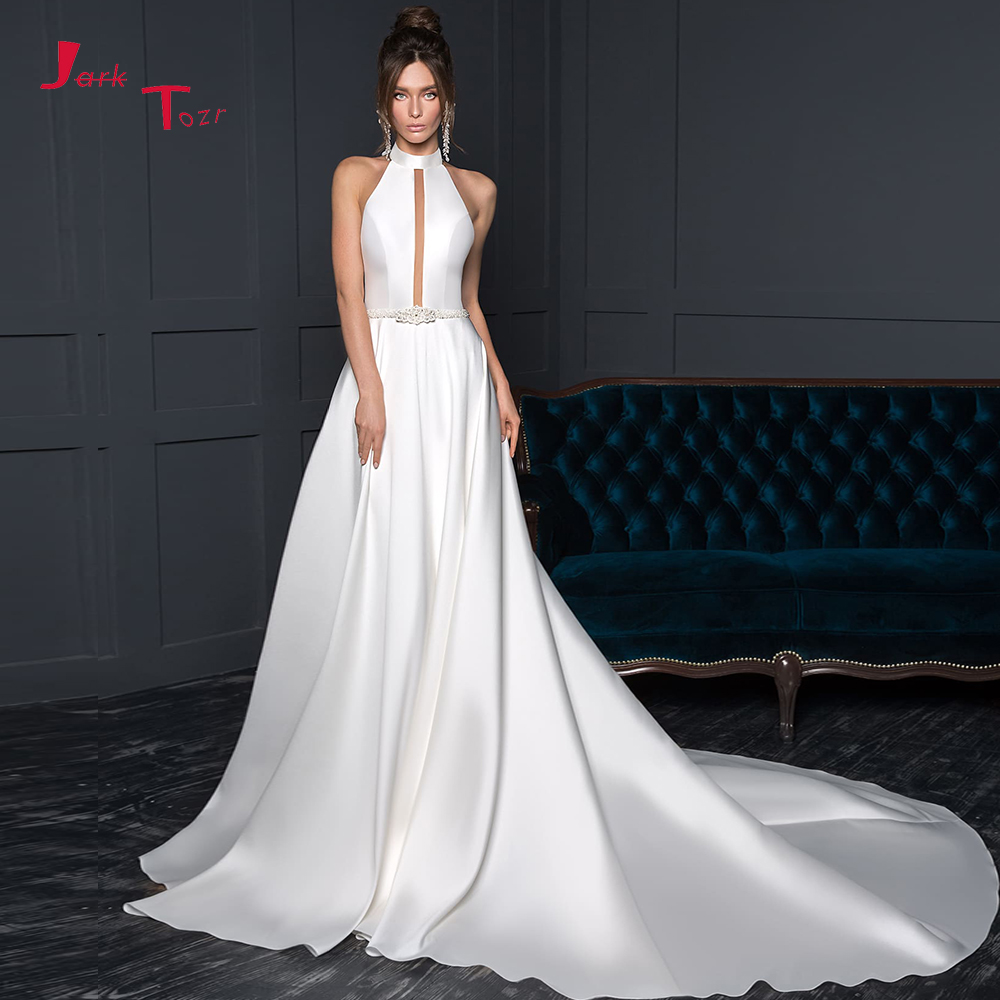 New Arrivals Satin Sheath Wedding Dresses Vestido De Noiva Beaded Crystal Waist Sexy Backless Halter Elegant Wedding Gowns China