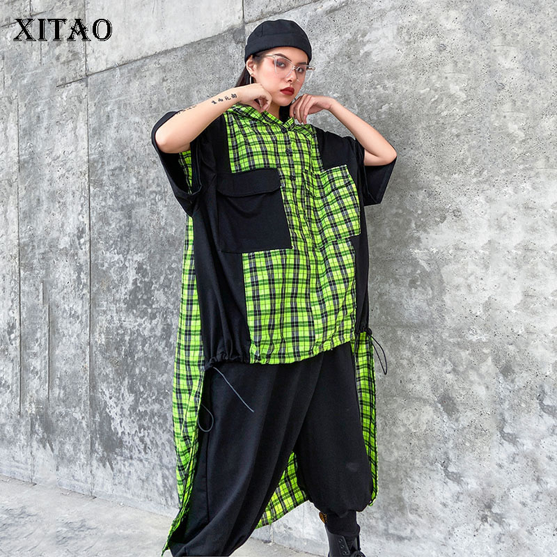 XITAO Trend Plus Size Sweatshirt Irregular Spring Summer New Hoodies Women Fashion Plaid Stitching Streetwear Top Women GCC3384