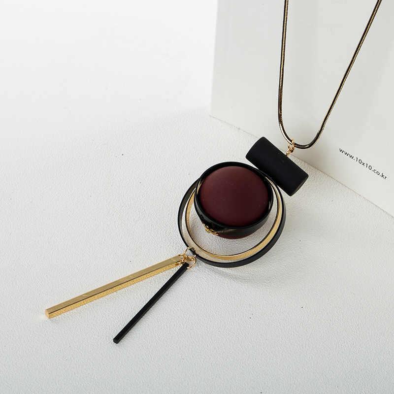 Bohemio geométrico de madera hecho a mano Vintage borla largo suéter cadena collar Moda Mujer Accesorios de joyería