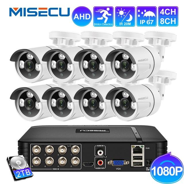 MISECU 8CH 1080N DVR CCTV מערכת 4 & 2PCS IR AHD מצלמה 1080P חיצוני עמיד למים בית מעקב וידאו סט XMeye HDD P2P HDMI