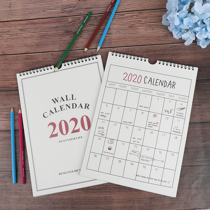 1PC 2020 Good Day Wall Calendar Agenda Organizer Cartoon Calendar Daily Schedule Planner