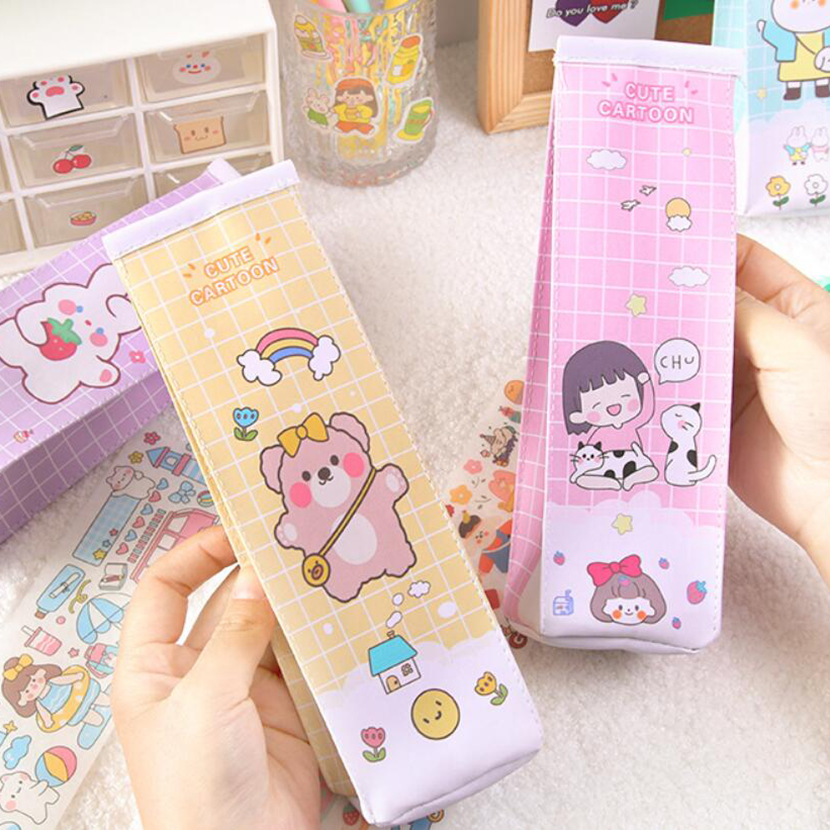 Pencil Cases pouch Kawaii Accessories Bureau Stand For Pens Stationery Plastic Milk Case Totoro Zakka Office Supplies Pencil bag