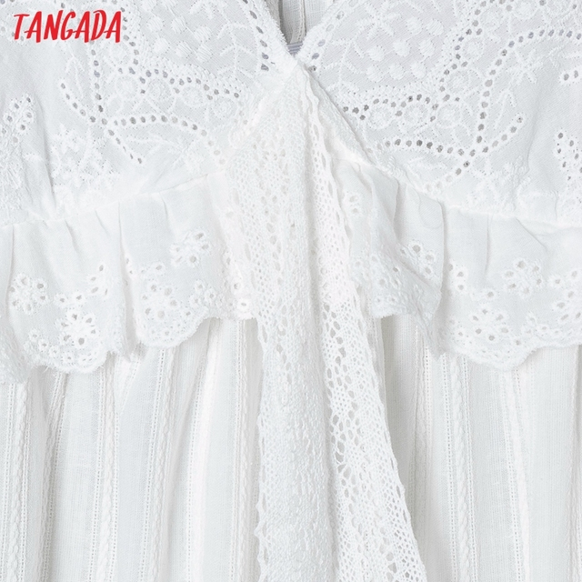 Tangada 2021 Fashion Women Flowers Embroidery White Strap Dress Sleeveless Backless Female Casual Beach Sundress 6H40 3