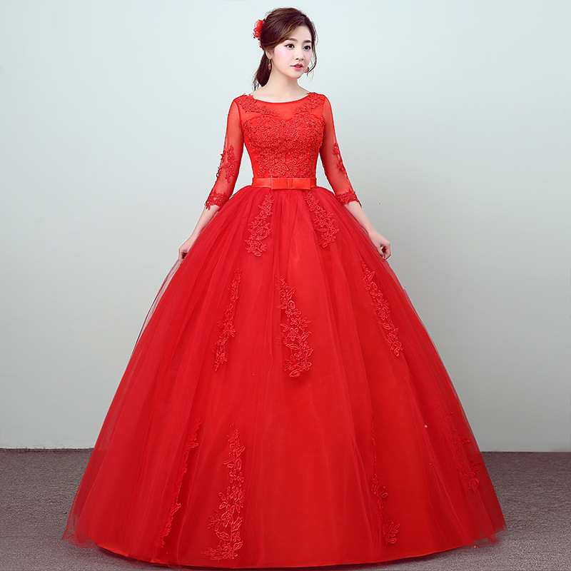 Red Wedding Dresses 2019 Bride Gown Tulle Applique Vestidos De Novia Floor Length Bride Dress Three Quarter Sleeves