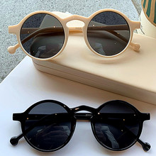 레트로 라운드 선글라스 여성 브랜드 디자이너 빈티지 작은 프레임 태양 안경 숙녀 한국어 스타일 안경 UV 드라이버 고글
