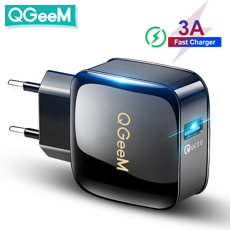 Зарядное устройство QGEEM QC 3,0 USB для быстрой зарядки, зарядное устройство 3,0 для телефона iPhone, вилка для ЕС и США, адаптер 12 В, быстрое зарядное у...