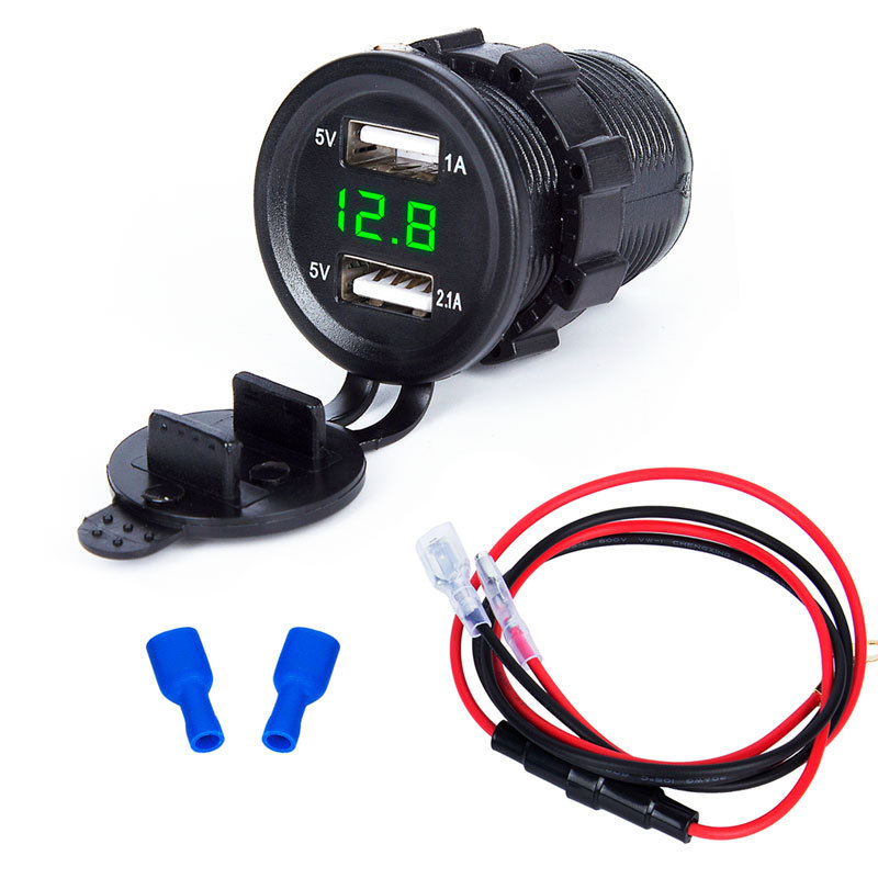 DIY 12v-24v 3.1A Waterproof Car Motorcycle USB Charger 60cm Wire with Red Blue Green Voltmeter DIY Charger Car Modified Parts image