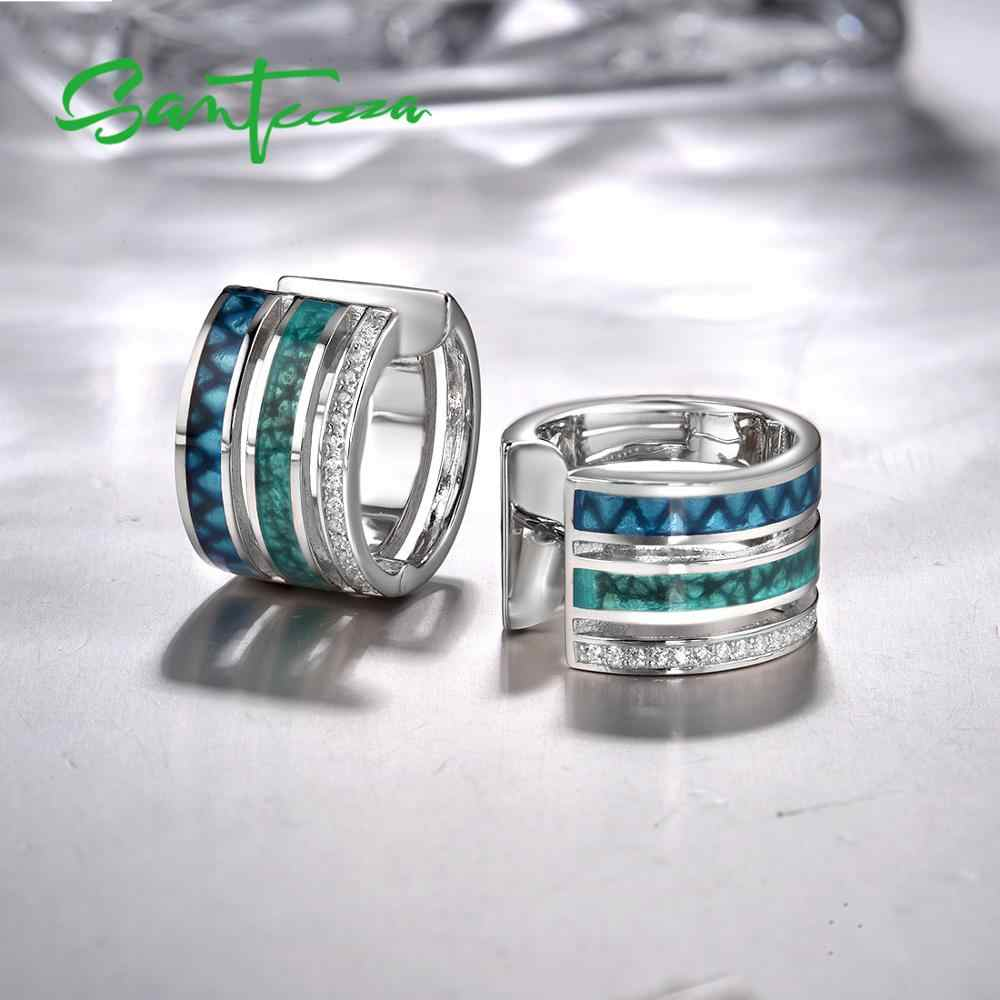 SANTUZZA כסף תכשיטי סט לנשים 925 סטרלינג כסף צבעוני עגול עגילי טבעת סט תכשיטים טרנדי בעבודת יד אמייל