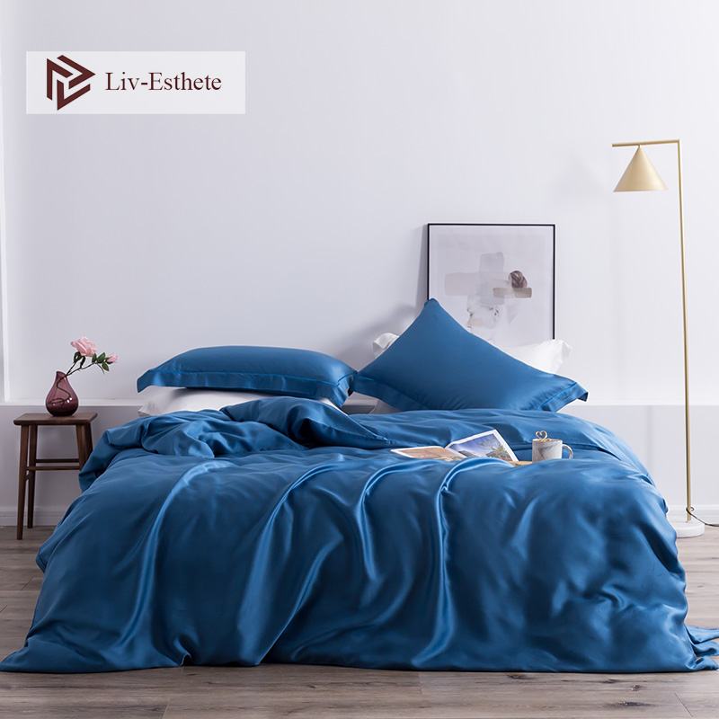 Liv Esthete 100 Silk Blue Luxury Bedding Set Silky Healthy Skin Duvet Cover Flat Sheet Bed Set For Women Men Kids Sleeping in Bedding Sets from Home Garden