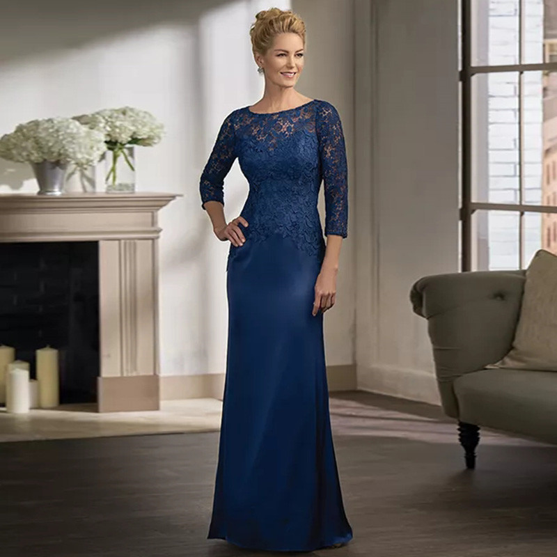 Navy Blue Long Sleeve Lace Mother Of The Bride Dresses For Weddings Plus Size Gowns Formal Godmother Groom Long Dresses