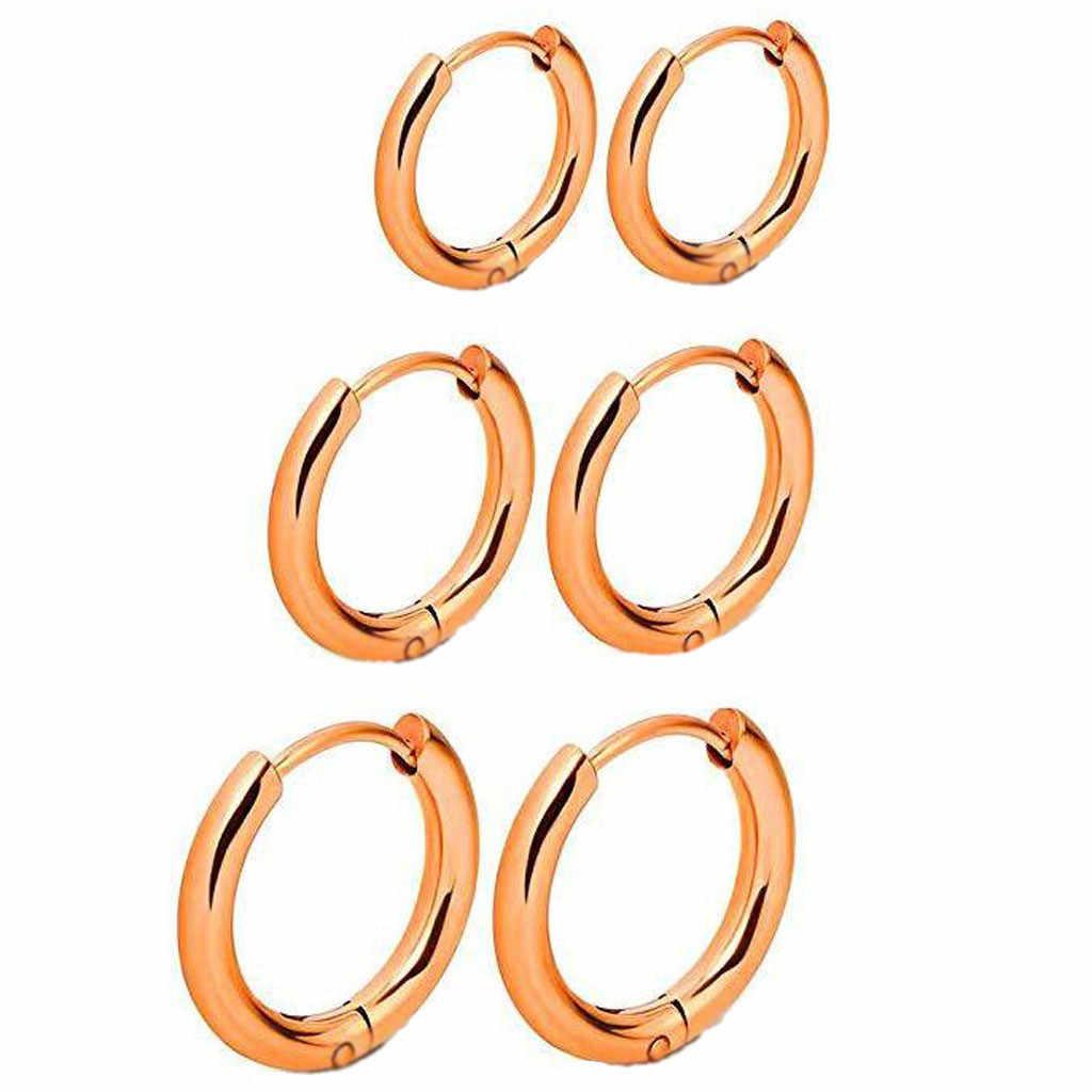 格納式の 3 ペアイヤリング titanium 鋼ステンレス鋼シンプルなラウンド耳リングスムーズコイルイヤリング серьги женские #40