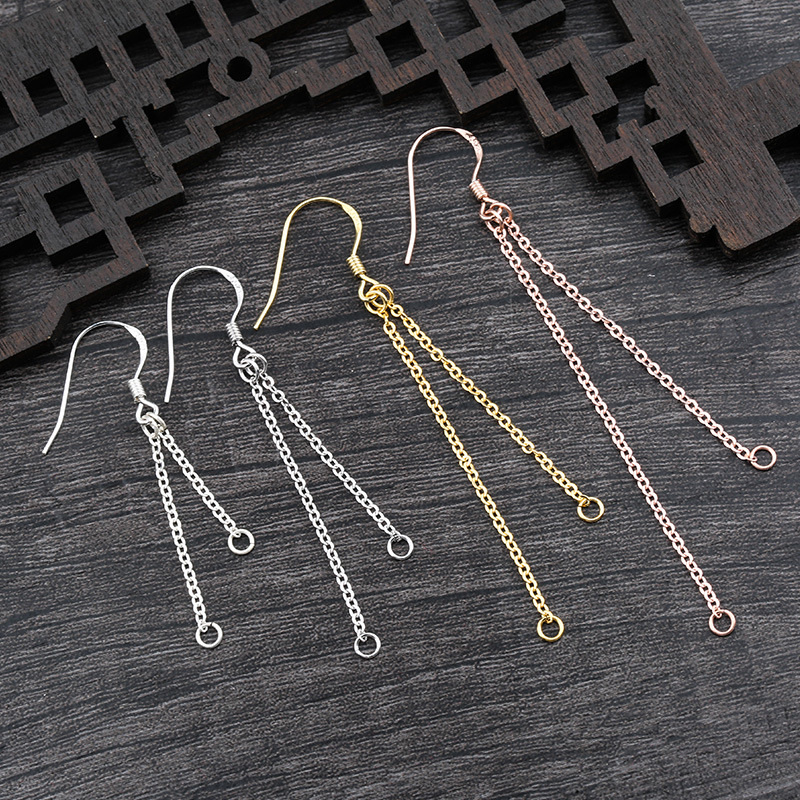 2pcs 925 Sterling Silver Earring With Dangle Tassel Connectors Ear Crochet Eardrop Extension Chains DIY Jewelry Making Findings
