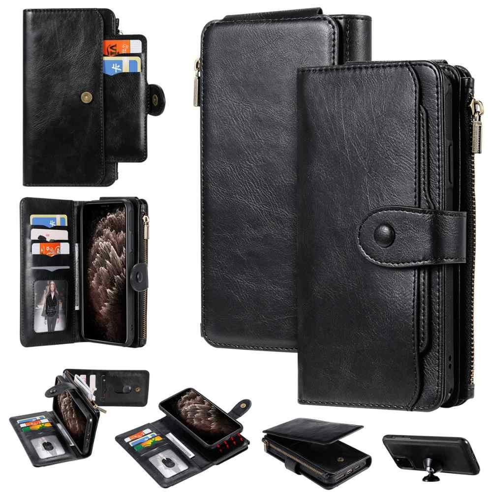 กระเป๋าสตางค์หนังสำหรับiPhone 11 PRO MAX XR XS 6 7 8 PLUS S20 กรณีบัตรMulti-FUNCTIONALแม่เหล็กKickstandโทรศัพท์กรณี