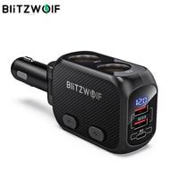 BlitzWolf BW-CLA1 Auto Ladegerät Mit Dual 150W Power Buchse Splitter Adapter QC 3,0 USB Auto Ladegerät Led-anzeige für smartphone