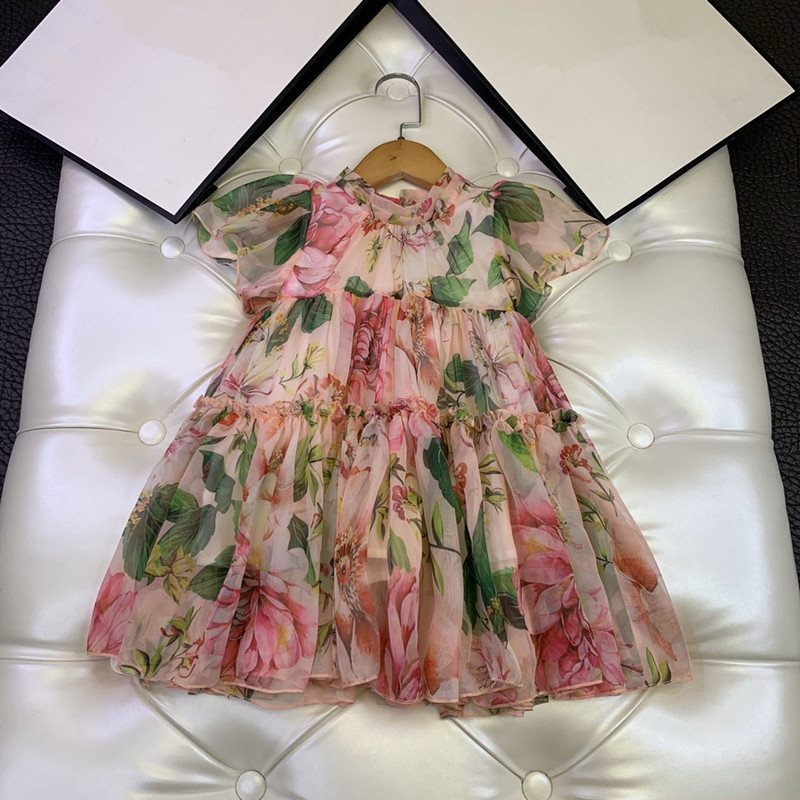 New Children's Dress, Girl's Beautiful Floral Floral Dress, Girl's Fashion Sweet Lotus Sleeve Dress