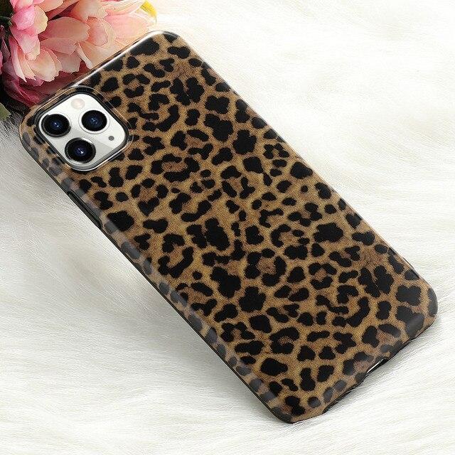 Leopard Fake Glitter Case for IPhone 11 Pro Max X XR XS 7 8 Plus 6 6S SE2020 12 Mini Slim Rubber Soft Phone Cover Funda Coque 4