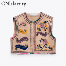 New Vintage Summer Floral Embroidery Women Vest 2021 Fashion Sleeveless Cardigan Ladies Jacket Outerwear Casual Boho Waistcoat
