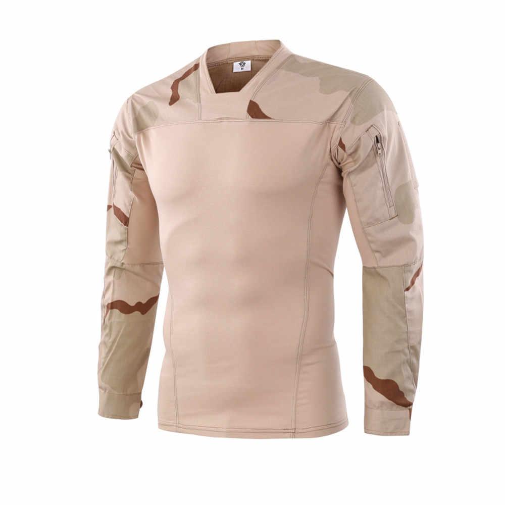 Polyester hohe qualität casual neue stil Männer Taktik Camouflage Lange-Sleeve Bullige Muscle Grund Feste Bluse T Shirt Top s123