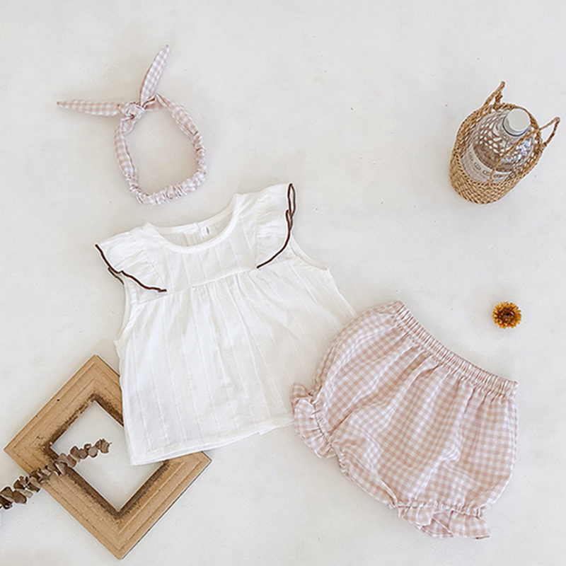 2020 Beautiful <font><b>Baby</b></font> Girl Clothes <font><b>Sets</b></font> For Summer Plaid White <font><b>Tshirt</b></font> and Bloomers Lovely <font><b>Baby</b></font> Girl Beautifuil Outfits image