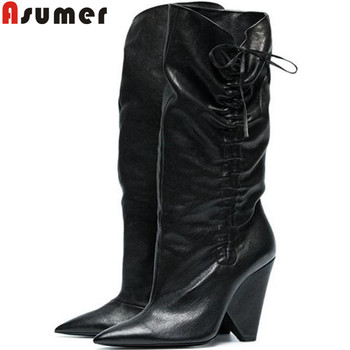 ASUMER 2020 new genuine leather boots women pointed toe slip on autumn winter boots spike heels ladies mid calf prom boots