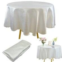 Satin Tablecloth Overlay Wedding Banquet Christmas Round Home 145cm Restaurant
