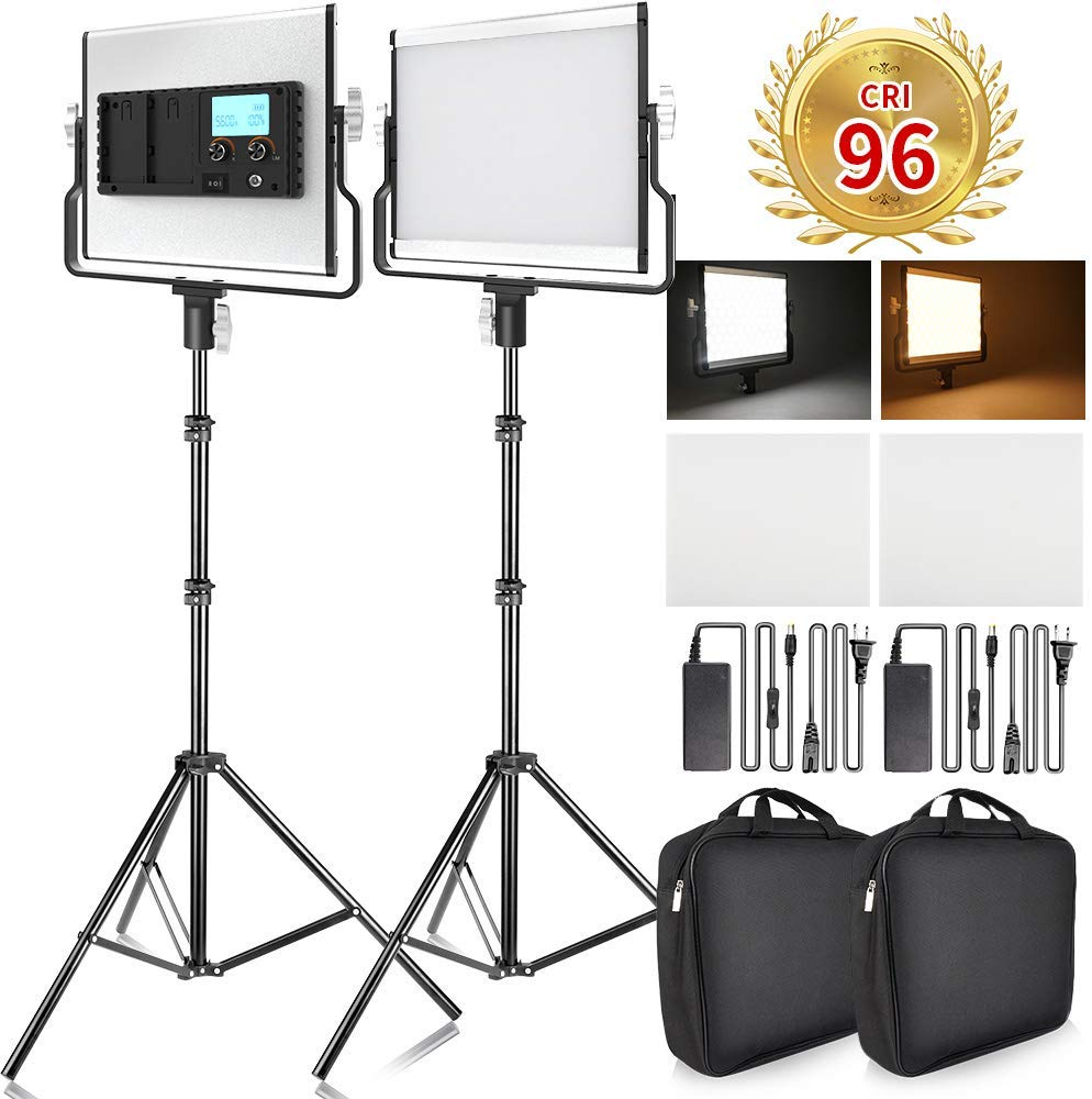 Bi-color LED Video Light Photography lighting U-Bracket Metal Shell Video Lighting Kit for Youtube Studio Photography Shooting image