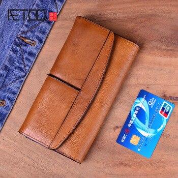 AETOO Original retro wallet men and women long wallet men's three fold zipper wallet buckle leather youth fashion retro wallet фото