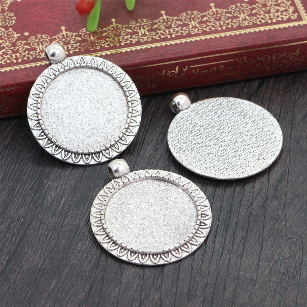 New Fashion  3pcs 25mm Inner Size Antique Silver Plated Classical Style Cabochon Base Setting Charms Pendant (A3-43)
