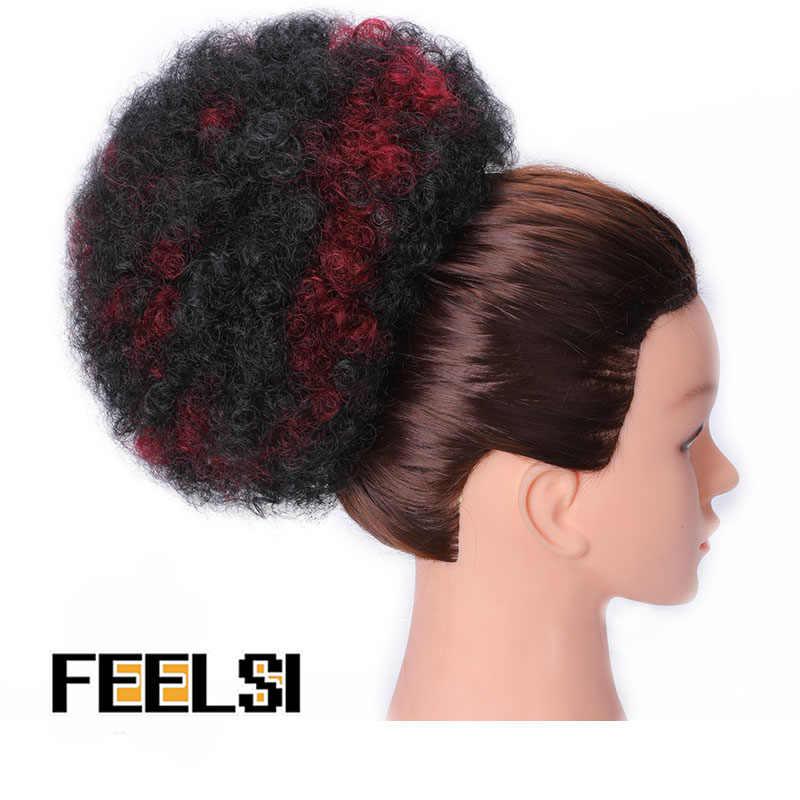 8 polegada curto afro puff cabelo sintético bun chignon hairpiece para as mulheres cordão rabo de cavalo kinky encaracolado updo clip extensões de cabelo