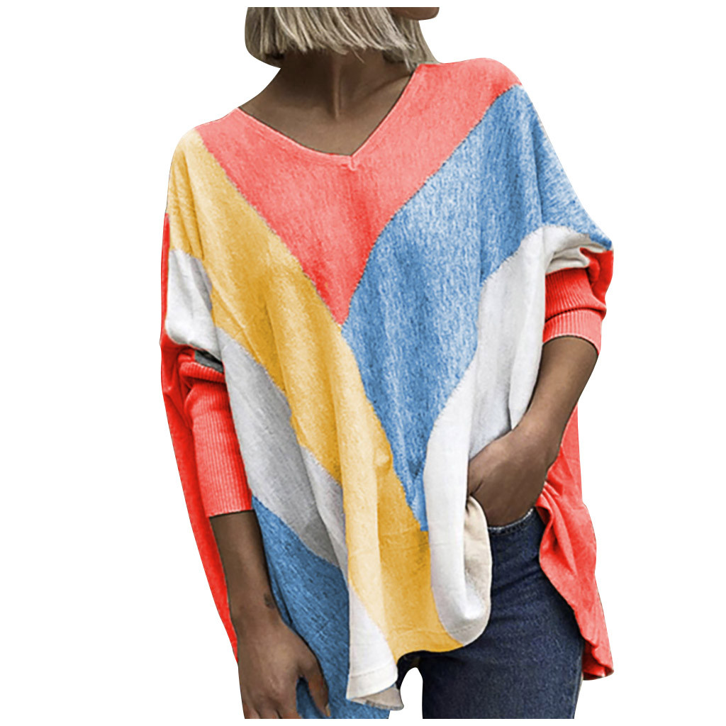 Women T-Shirt V Neck stripe Print Long Sleeve Tops Spring Casual Loose Ladies Tee Shirt Femme Womens Clothing Plus Size