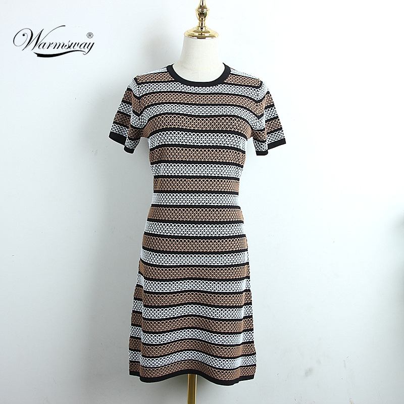 Spring Summer 2020 New Style Temperament Waist Hollow Out Thin Jacquard Stripe Short-sleeved Pullover Knitted Dress Women CY-106