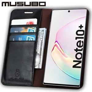 Image 2 - Muselo caso de luxo para samsung galaxy note 10 capa de couro genuíno para funda nota 9 aleta carteira s20 s10e s10 + cartão telefone coque