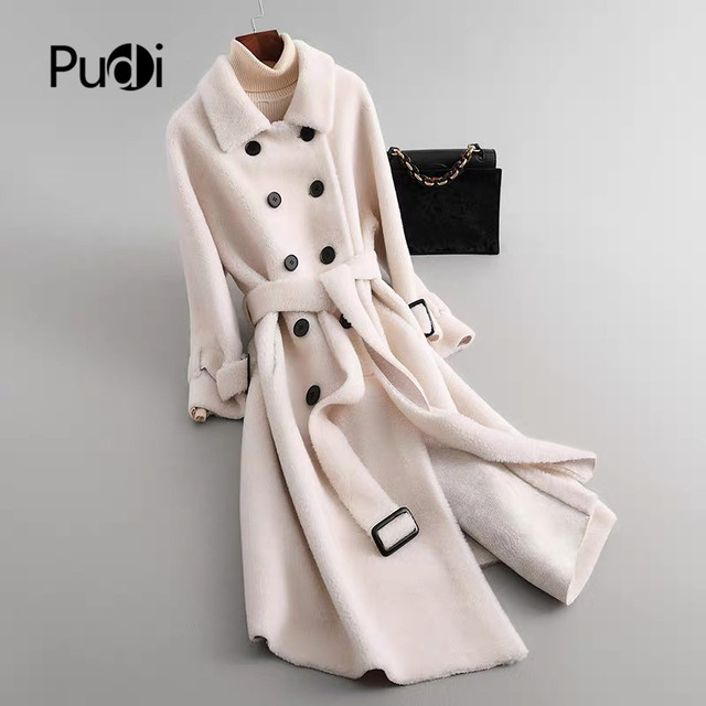 SY12 Fall winter women 30% wool fur coat A shape button pocket sheep shearing girl warm fur coats lady long jacket overcoat