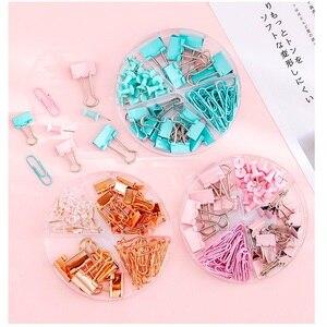 Image 1 - 6 zestaw/partia Mint zielony różowy różowe złoto kolor klipy na plik biurowy narzędzia wiążące wiele rozmiarów papieru zacisk Memo...