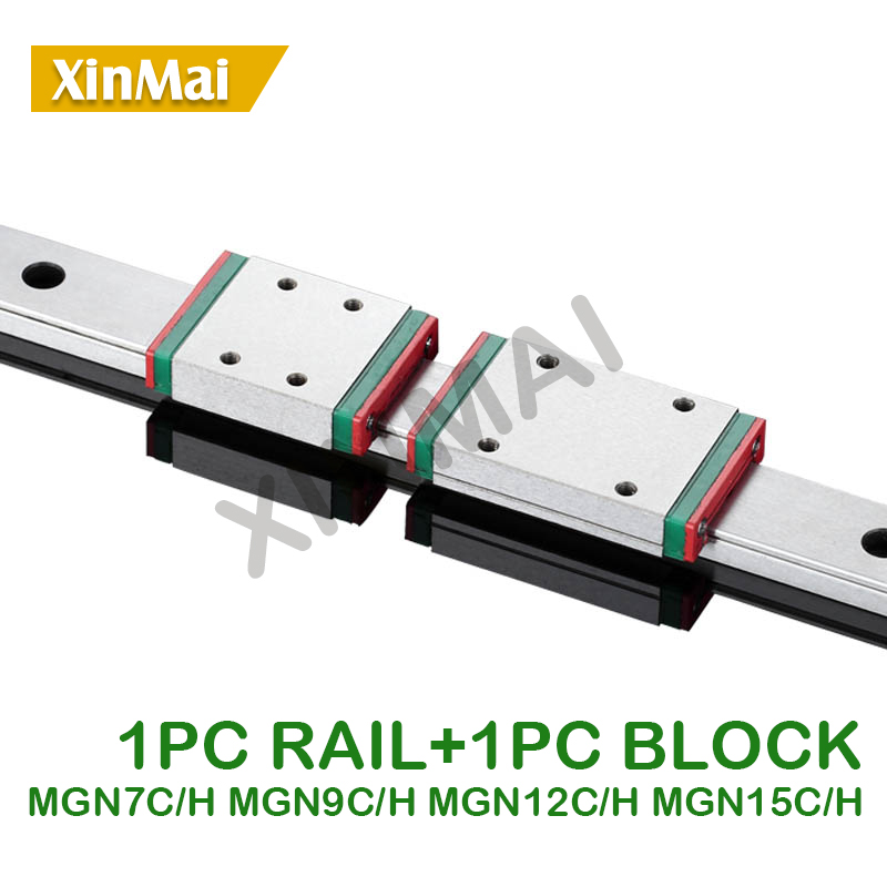 1PC MGN7C MGN7H MGN9C MGN9H MGN12C MGN12H MGN15C MGN15H Linear Rail Guide 150mm 400mm With 1PC MGN Slider