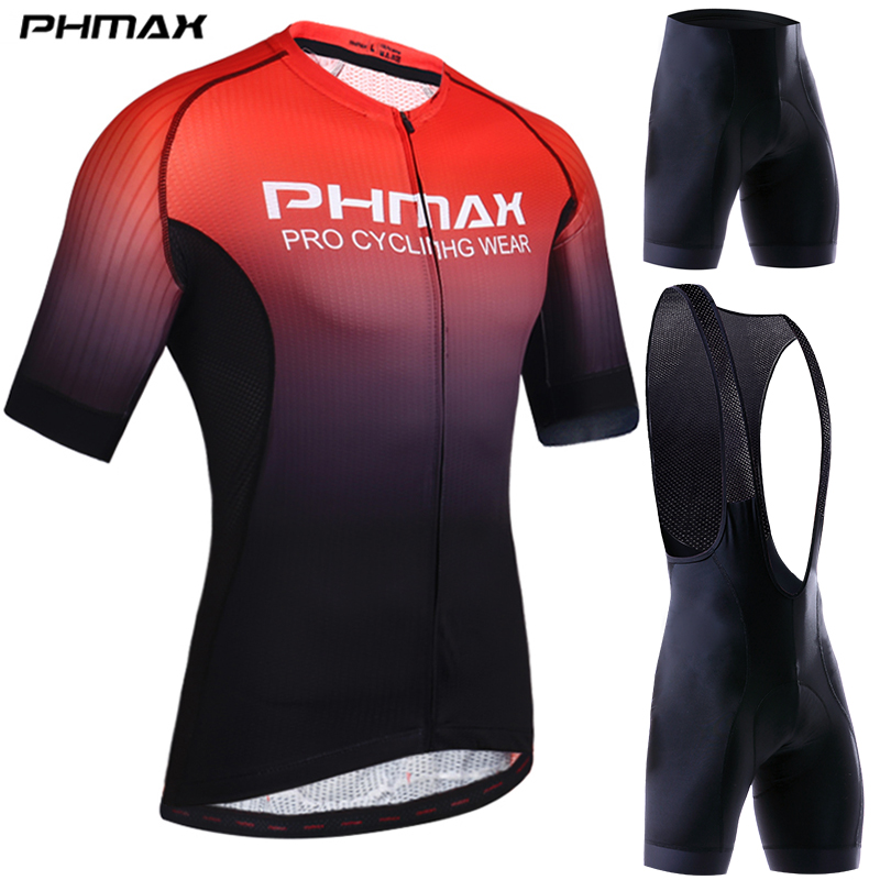 PHMAX Pro Cycling Clothing Men Cycling Set Bike Clothes Breathable Anti-UV Bicycle Wear Short Sleeve Cycling Jersey Set For Mans