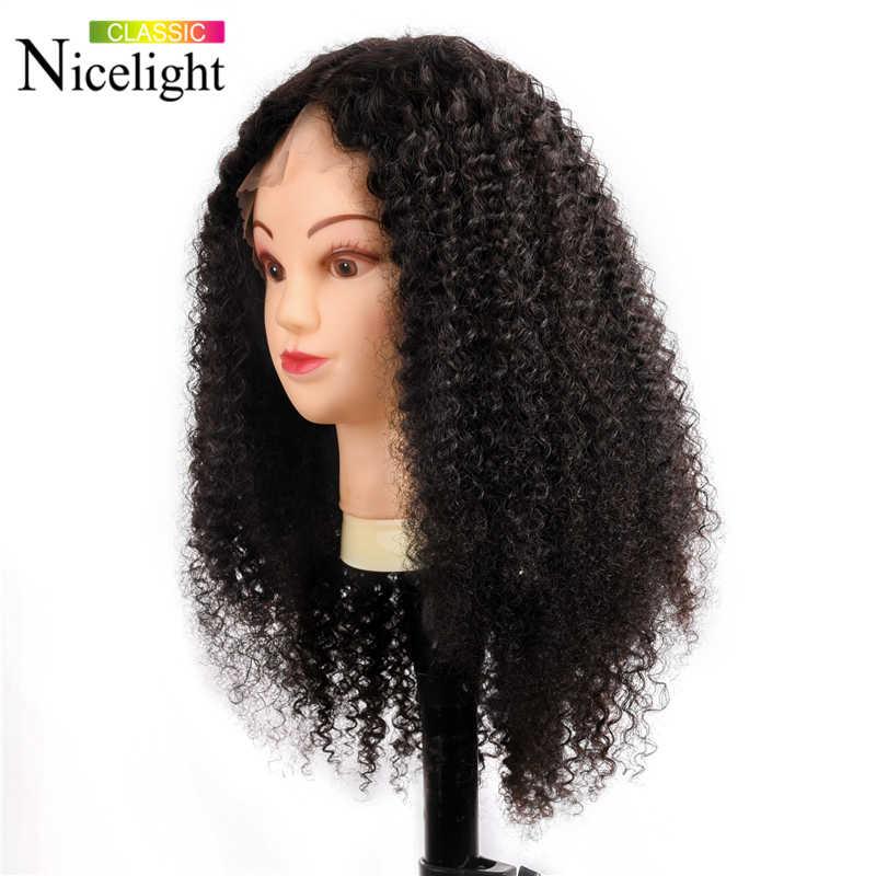 Malezyjski peruka z lokami 13X4/13x6 zamknięcie peruki perwersyjne kręcone koronki przodu peruka koronkowe peruki z ludzkich włosów Nicelight Remy włosy 8-24 Cal